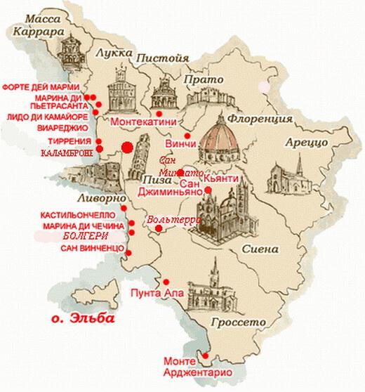 Карта Тосканы (Италия)
